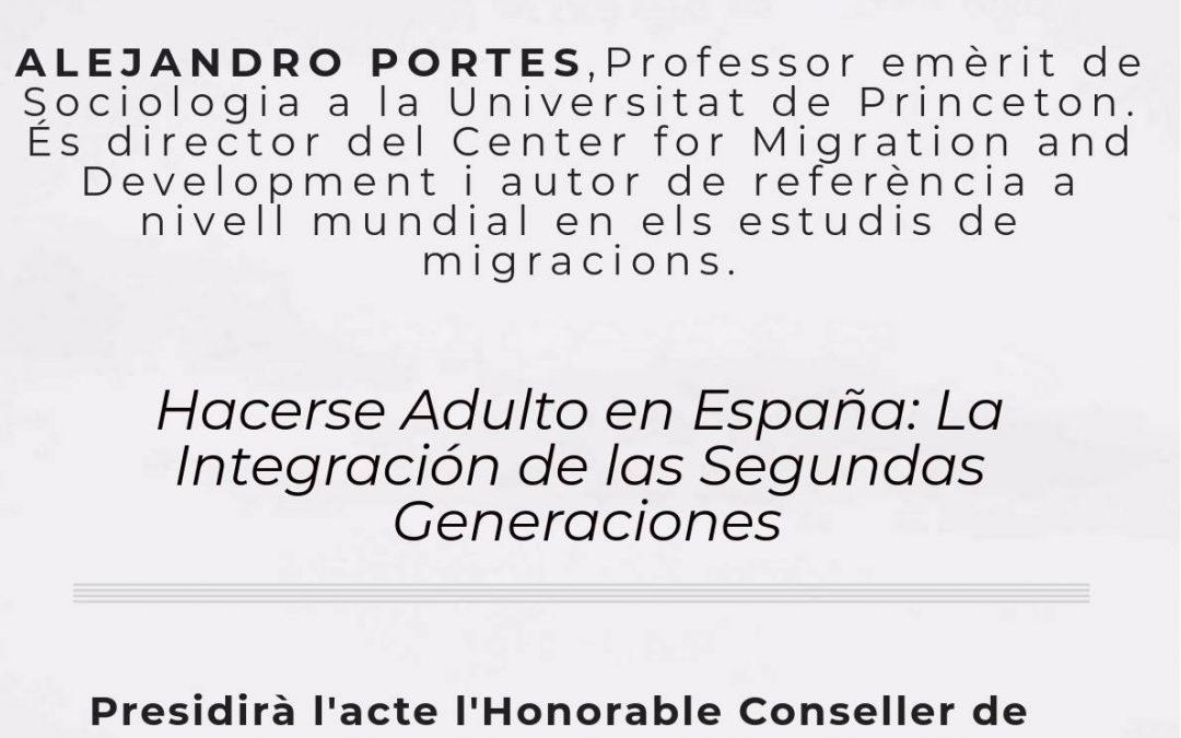 """Conferència d'Alejandro Portes """"Hacerse adulto en España: La integración de las Segundas Generaciones"""", Professor emèrit de Sociologia a Princeton University"""