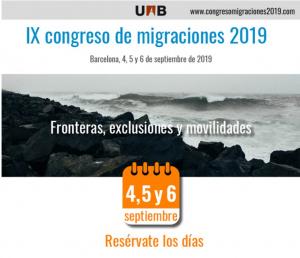 IX Congrés de Migracions 4-6 de setembre de 2019