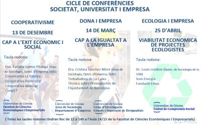 """Cicle de Conferències """"Societat, Universitat i Empresa"""", Facultat de Ciències Econòmiques i Empresarials, UdG"""