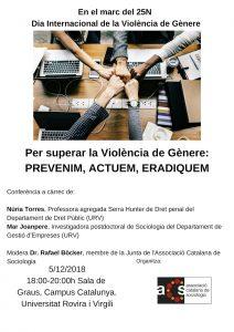 Conferència: Per superar la Violència de Gènere: Prevenim, Actuem, Eradiquem @ Sala de Graus, Campus Catalunya, URV